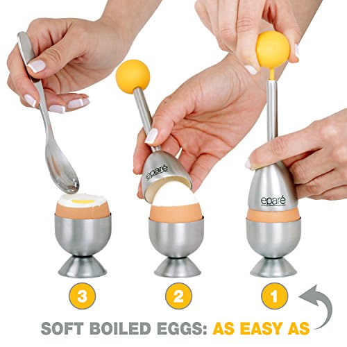 Eparé Egg Cracker Topper Set – Soft Hard Boiled Eggs Separator Tool – Include Spoons and Cups - Shell Remover & Cutter - Steel Spoon & Cup Holder – Cooker Accessory by eparé (Image #2)