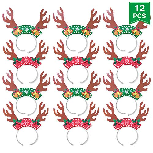 (Christmas Reindeer Headband, Christmas Party Decorations Antler Headband Holiday Costume Party Pack of 12Pcs)