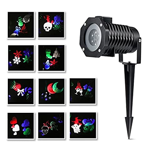 Christmas Projector Lights 10 Pictures Snowflake LED Landscape Spotlights Waterproof Garden Lamp for Decoration Lighting on Christmas Holiday Party