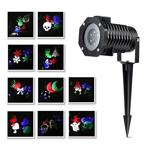 [Christmas Projector Lights 10 Pictures Snowflake LED Landscape Spotlights Waterproof Garden Lamp for Decoration Lighting on Christmas Holiday] (House With Dancing Halloween Lights)