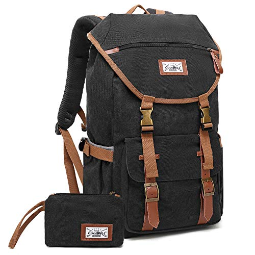 CoolBELL Laptop Travel Backpack Outdoor Rucksack Hiking Knapsack Daypack Multi-Functional Business Bag Fits 17.3 Inches Laptop for Men/Women (Canvas Black)