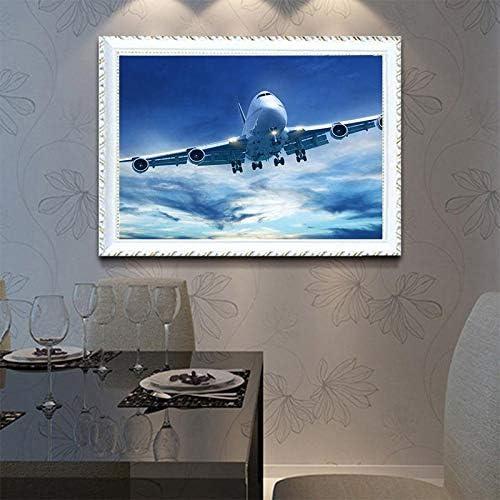 Kentop DIY 5D Diamant Peinture Point De Croix Broderie Diamond Painting Kits Salon Chambre D/écoration Autocollant Mural Avion