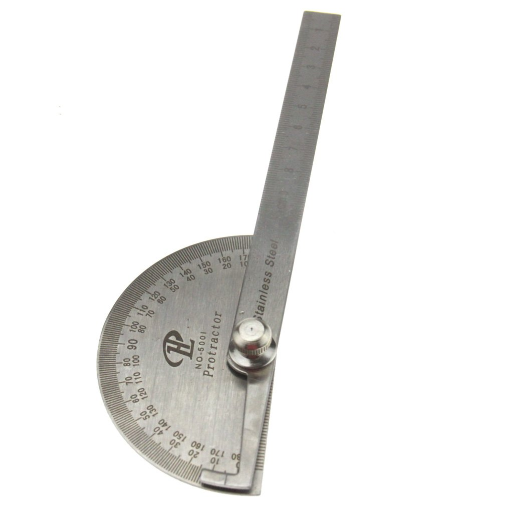 0-180 Degree Stainless Steel Round Head Angle Finder Ruler 100mm Arm Measure Ruler Angle Gauge Protractor EMCLTD