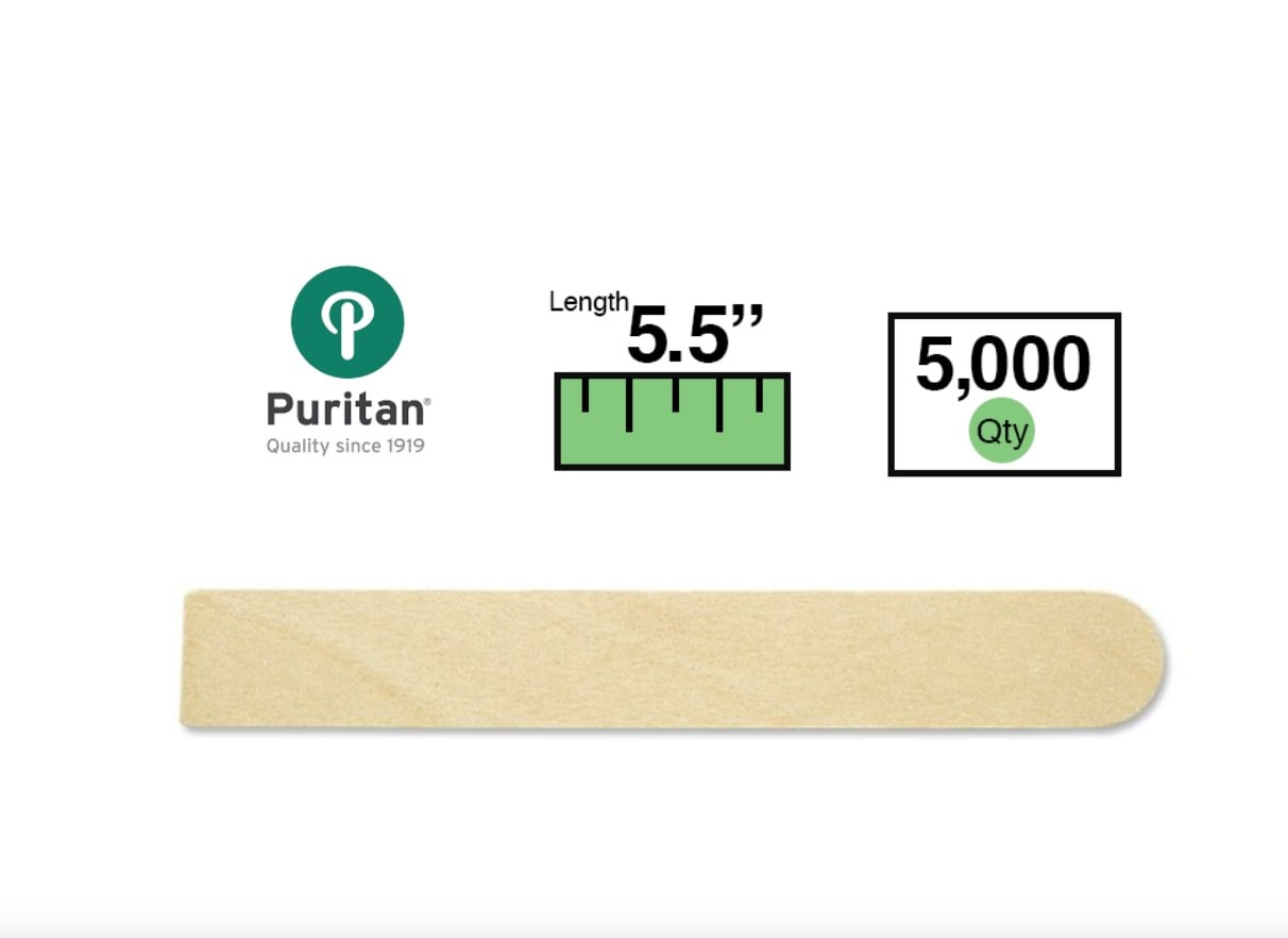 Puritan 705-SQ-END Regular Size Tongue Depressor, Square End, Non-Sterile, 5-1/2 x 3/4 x 1/16'' (Case of 5000)