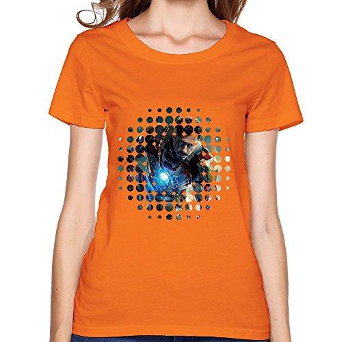 PTHF Women's Iron Man Light UP Arc Reactor LED Graphic T-Shirt XS Orange