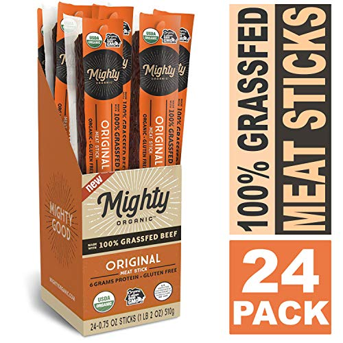 100% Grass Fed Meat Sticks, Keto Snacks, Original, Mighty Organic, 0.75oz (Pack of 24)