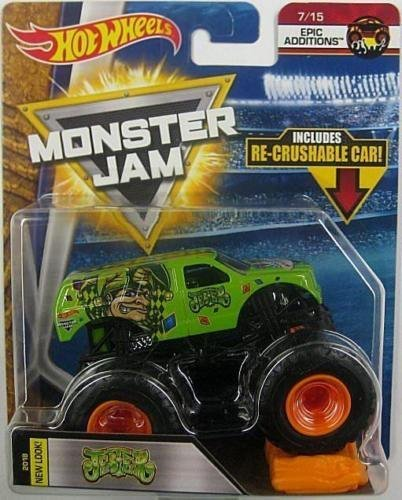 - Mattel Hot Wheels Monster Jam Epic Additions - Jester (Green) with Re-Crushable Car!