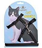 PUPTECK Adjustable Cat Harness Nylon Strap Collar with Leash Black