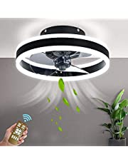 XIAOL Led-plafondventilator met afstandsbediening, dimbaar, stil, 48 W, zwart, kleine ventilator, slaapkamer, plafondlamp, moderne ventilator, plafondlamp, woonkamer, kinderkamer, eetkamer