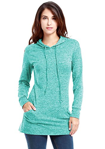 Vessos Women's Long Sleeve Sweatshirt Crewneck Pocket Fleece Tunic Slim Fit Hoodie