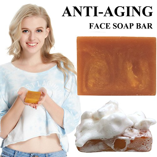 ging Face Wash Handmade Bar Soap Organic Soap for Men Women (Ginseng anti aging bar 100g) (Soap Handmade Soap Bar)