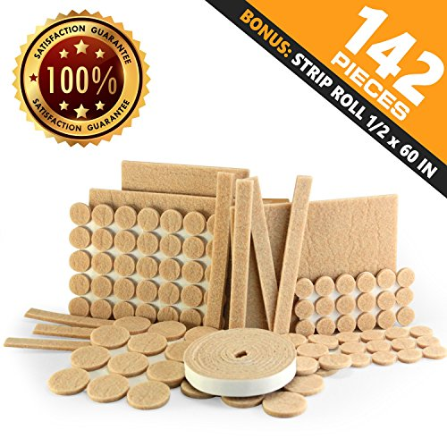 Heavy duty self adhesive Furniture Felt Pads for hard surfaces - 142 Pieces variety pack - best to protect hardwood tile laminated floor from chair legs, table, furniture ()