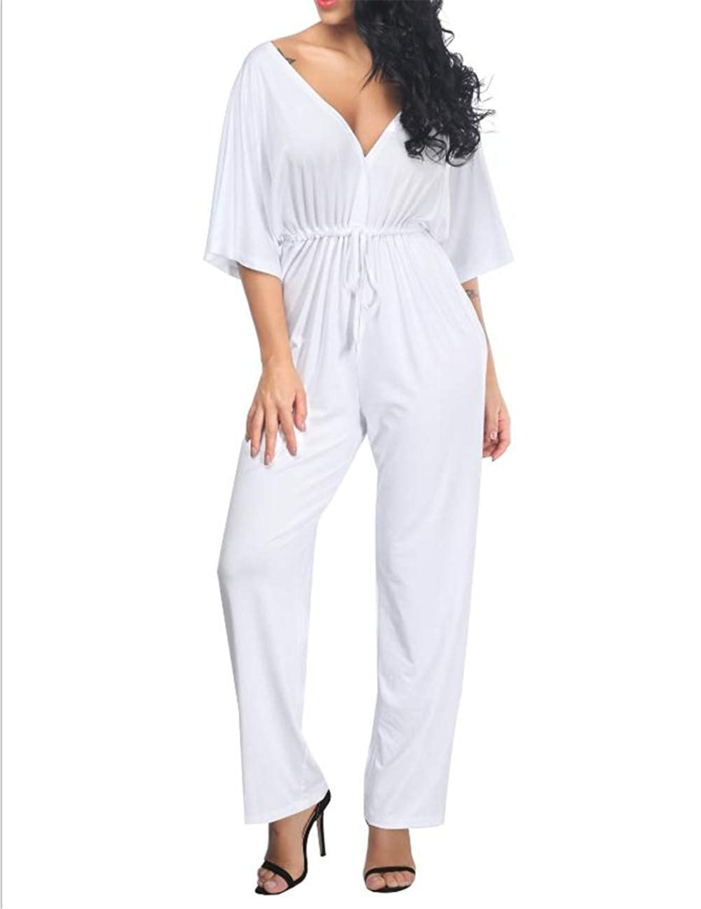 White Super color Women's Sexy Casual Short Sleeve Elastic Waist Jumpsuit Rompers