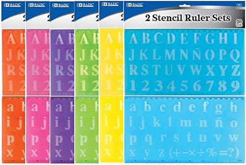 Bazic 20mm Transparent Lettering Stencil Ruler Set 144 pcs sku# 312376MA