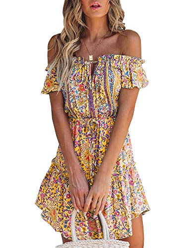 GAMISOTE Womens V Neck Short Sleeve Summer Dress