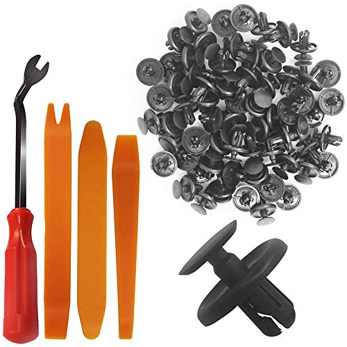 YuCool 100Pcs Push-Type Retainer,Compatible with Lexus & Toyota 90467-07201 Rivet Retainer Fastener Bumper Pin Black Plastic Push Type Clips with Plastic Fastener Remover + 3 Removal Pry Tool