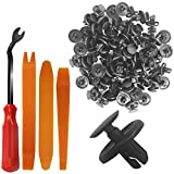 YuCool 100Pcs Push-Type Retainer Compatible with Lexus & Toyota 90467-07201 Rivet Retainer Fastener Bumper Pin Black Plastic Push Type Clips with Plastic Fastener Remover + 3 Removal Pry Tool