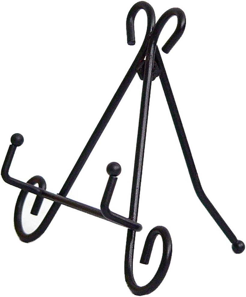 ChezMax Home Accents Black Garden Stone Easel Iron Stone Stand Decorative Display Stand