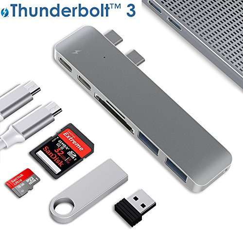 "Type C USB Hub, ALLEASA N28A 6 in 1 Aluminum USB-C Adapter with 40Gbs Thunderbolt 3 Charge,USB-C Data Transfer,2 USB3.0, SD/Micro/TF Card Reader for 13""&15"" MacBook Pro 2016/2017 Plug and Play (Grey)"