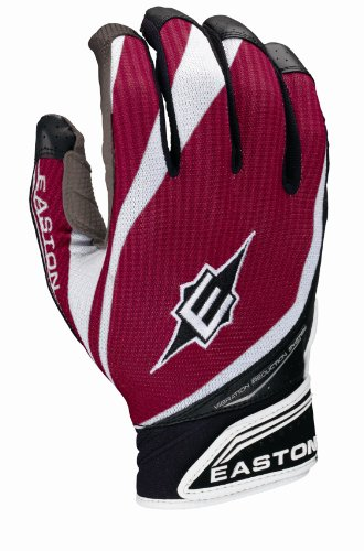 Easton VRS Pro IV Batting Gloves, Grey/Cardinal, Medium