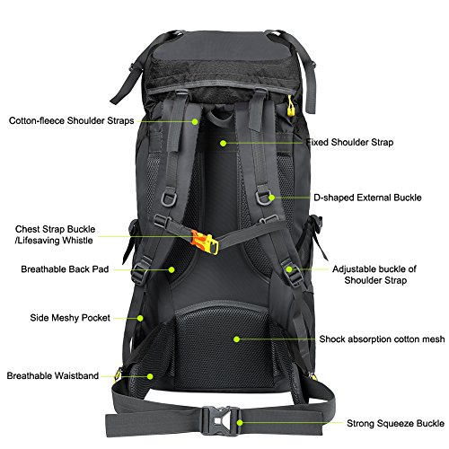 Vbiger 60L Outdoor Backpack Waterproof Backpacking Pack Travel Daypack for Climbing, Hiking, Trekking, Mountaineering, with Rain Cover (Black) by VBIGER (Image #4)