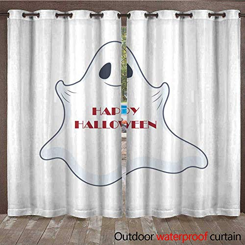 RenteriaDecor Outdoor Ultraviolet Protective Curtains Halloween Ghost Illustration