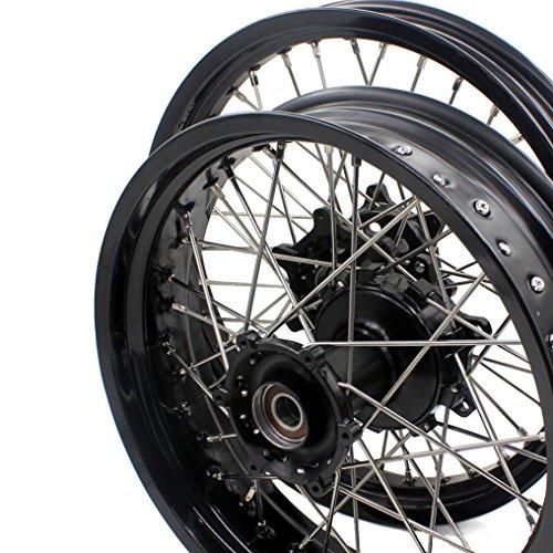 KKE KTM 950/990 CUSH DRIVE SUPERMOTO MOTARD WHEELS RIMS SET 2.5×19/4.25×17 BLACK HUB BLACK RIM - Rear Cush Wheel Drive