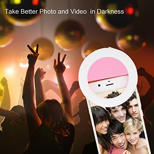 delicate Selfie Ring Light for Phone Camera, OIMIO Selfie Led Ring Light with Rechargeable Battery for iPhone Smartphone (Pink)