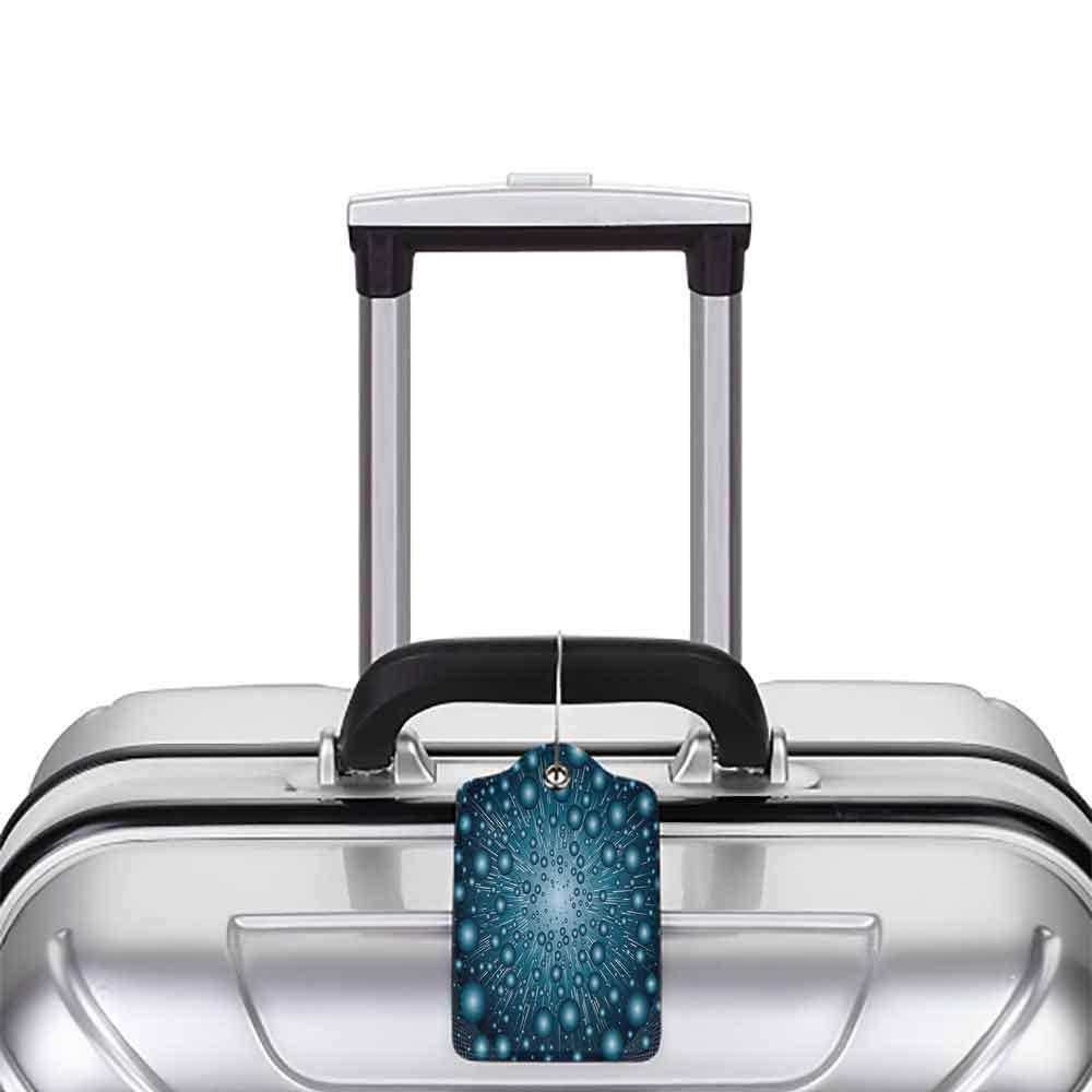 Waterproof luggage tag Fantasy Digital Computer Art Futuristic Dots Circular Spots Galaxy Energy Illustration Soft to the touch Petrol Blue W2.7 x L4.6
