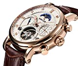 Men Tourbillon Mechanical Stainless Steel Watch Sports Leather Moon Phase Military Automatic Watches for Mens