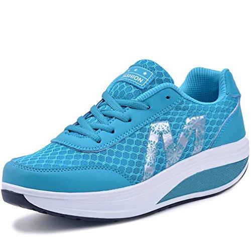 d06140295646 Solshine Damen Fashion Plateau Schnürer Sneakers mit Keilabsatz WALKMAXX  Schuhe Fitnessschuhe Blau 2