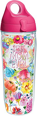 Tervis 1286450 Best Mom Ever Floral Tumbler with Wrap and Passion Pink Lid 24oz Water Bottle, Clear ()