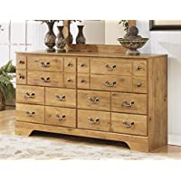 Bittersweet B219-31 63 6-Drawer Dresser with Replicated Pine Grain Decorative Hardware and Side Roller Glides in Light Brown