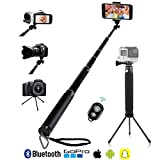 Image of LENDOO Selfie Stick, Bluetooth Remote with Tripod Extendable Monopod for Iphone 7/7plus/6/6 Plus iOS Samsung GalaxyS8/S7/S6/Edge Android Smartphone, Gopro Hero 5/4/3/3+/2, DSLR 1/4 Compact Camera