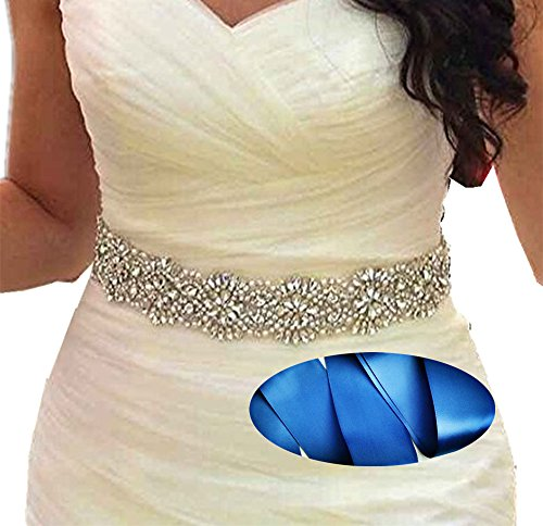 SoarDream Bridal Crystal Rhinestone Wedding Dress Sash Belt With Navy Ribbon