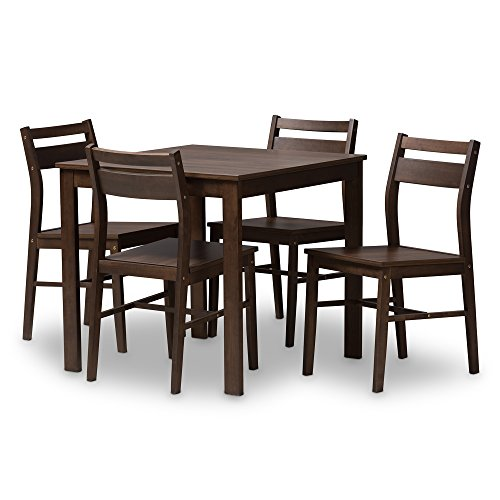 Baxton Studio 5-Pc Dining Set in Walnut-Finish (Room Sets Dining Wholesale)