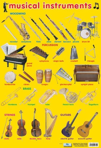 29 Musical Instruments Poster 16 x 24in