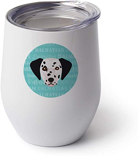 Mystic Sloth Adorable Dog Breed Design 12oz Stainless Steel Stemless Wine Glass With Lid Dalmatian White Wine Glasses