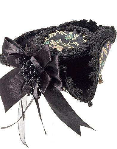 Pirate Costume Mini Hat (Black Victorian Mini Pirate Hat)