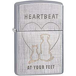 Zippo Heartbeat At Your' Linen Weave Pocket Lighter