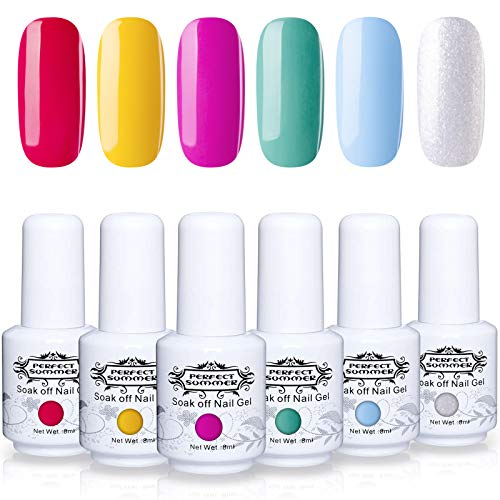 Perfect Summer Semi-permanent Gel Nail Polish 6 Colors Gel Nail Varnish Soak Off UV LED Home Gel Manicure Nail Salon Set 8ML 046