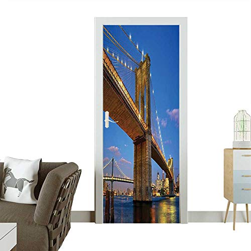 Door Sticker Brooklyn Bridge at Twilight in New York City East River Modern Metropolis Removable Door Decal for Home DecorW38.5 x H77 INCH