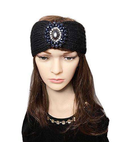 Adult Knit Headband - YSJOY Vintage Retro Boho Beads Cable Knitted Winter Turban Headband Ear Warmer Head Wrap Twist Flower Knit Wide Hair Band for Women Girls Black