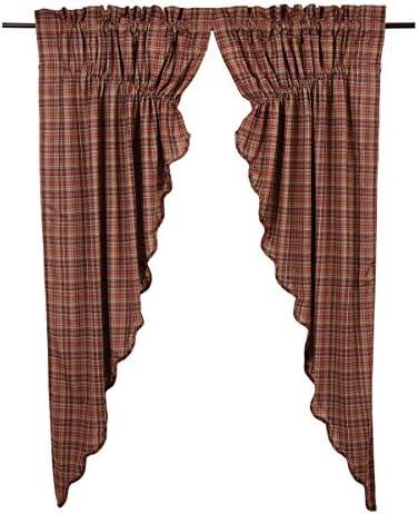 VHC Brands Parker Scalloped Prairie Curtain Set of 2, 63x36x18