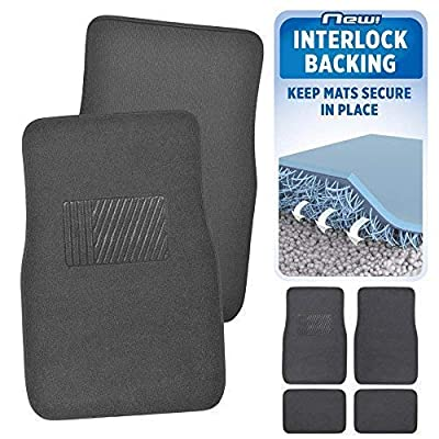 BDK MT-120-CC Interlock Car Floor Mats-Secure No-Slip Technology for Automotive Interiors Inter-Locking Carpet, 4 Piece, Charcoal: Automotive