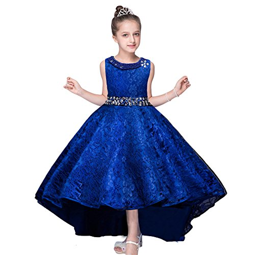HUANQIUE Girls Wedding Pageant Dress Hi-Low Lace Bridesmaid Flower Girl Dresses Blue 9-10 Years