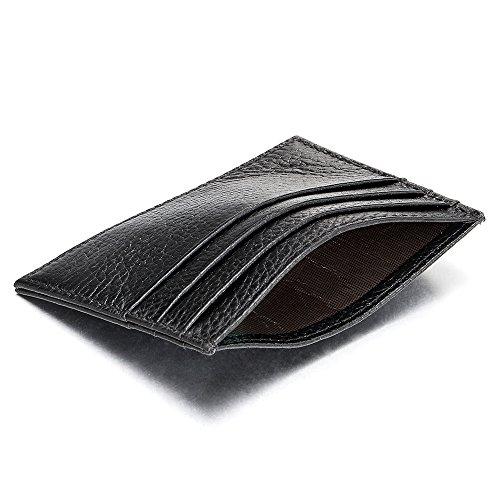 Carte nbsp;portafoglio 6 Tasche Porta Soldi Di Piccolo Cuoio E Credito Nero Pelle Compatto Tessere Sottile 68q0Swxp