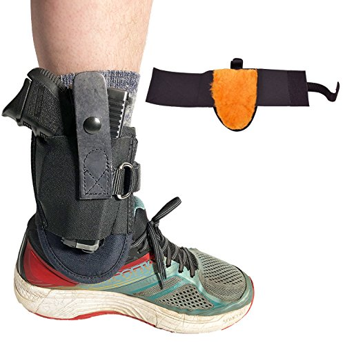 Blue Stone Safety Undercover Ankle Holster with D-Ring| Most Secure Ankle Holster in the Market| Fits Snub nose Revolvers, Glock 26,Glock 27,Glock 30,S&W Shield,Sig P239, and Similar Sized Weapons. Sheepskin lined (Left Hand)