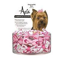 Aria Pretty In Pink Bows para perros, botes de 48 piezas