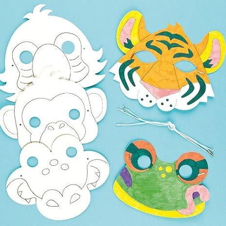 Baker Ross Caretas Máscaras De Animales De La Jungla Para Colorear